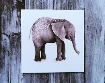 Watercolour Elephant Blank Greeting Card
