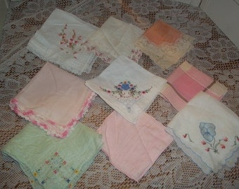 9 lot collection Vintage Hankies embroidered florals, lace edged silk, hankerchiefs, fancy hanky group, Nice collection