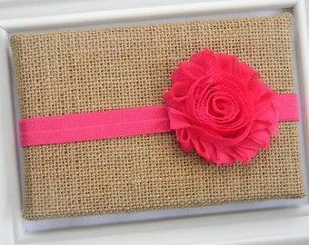 Hot Pink Chiffon Flower Headband, Baby Pink Headband, Baby Chiffon Headband, Pink Flower Headband