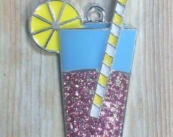 50x30mm, Summer Drink, Pink Lemonade, Rhinestone Pendant, Chunky Necklace, Lemonade Pendant, Lemonade Necklace, DIY Necklace