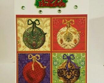 Handmade ornaments Christmas card, holiday card, seasonal Christmas card