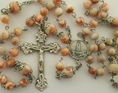 Rosary, Our Lady of Fatima, Redline Marble Stone, Our Lady of the Rosary, Strong, Stainless Steel, Five Decade, Handcrafted, Gemstone Rosary