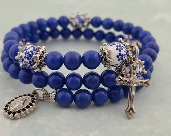 Rosary Bracelet, Lapis Blue Mountain Jade, Floral Ceramic, Miraculous Medal, Strong Stainless Steel, Five Decade, Memory Wire,Wrapped Rosary