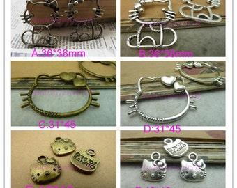 10pcs - 31*45mm Kitty Cat  Charm Pendant Necklace pendants, Jewelry pendants,Bracelets ,Ring Fittings