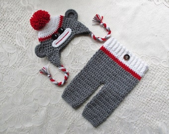 Grey and Red Sock Monkey Crochet Hat and Pants - Photo Prop Set - Available in Any Color Combination - 0 to 6 Month Size