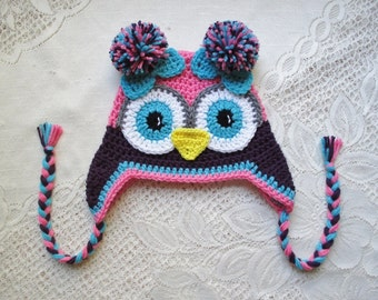 Medium Pink, Dark Purple and Turquoise Crochet Owl Hat - Winter Hat or Photo Prop - Available in Any Size or Color Combination