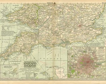 ENGLAND and WALES Southern Part - 1897 maps - Instant digital downloadable file