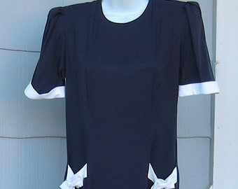 Navy Blue Day Dress with White Trim ~ Vintage 50's