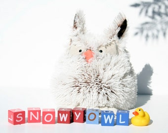 Furry Wise Owl, Long-Eared Owl Pillow, Snowy Owl Plushie Toy, Ready to Ship