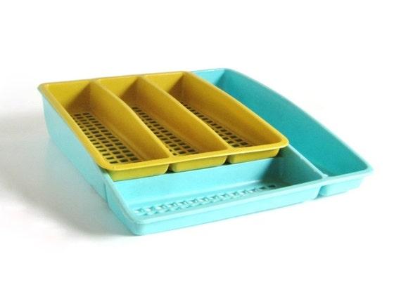 Deka Plastics Silverware Organizer 2 Tier Trays 195 196 Harvest Gold Turquoise