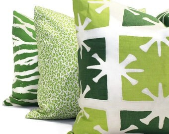 China Seas Georgia Large Lime Forest Green Quadrille Pillow Cover Square, Eurosham or Lumbar pillow Accent Pillow, Christmas pillow, holiday