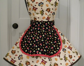Womens Aprons-Owls Acorns and Little Red Mushrooms Apron