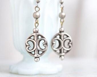 Gothic Dangle Earrings - Dark Silver Elegant Earrings