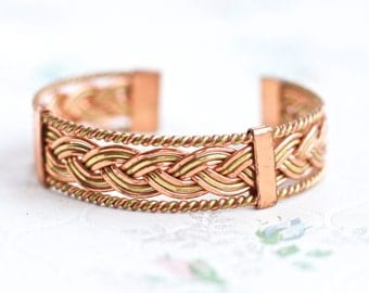 Copper and Brass Cuff Bracelet - Plated - Vintage Boho Bangle