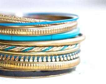 Blue and brass Bangles - Instant Collection of 10 Boho Bracelets - Gypsy cuff in Shades of Green