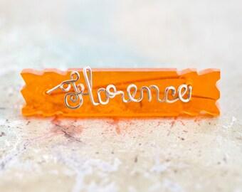 Florence Lapel Pin - Gold on Orange Name Brooch