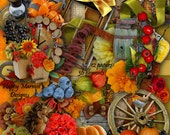 """Digital Scrapbooking Kit 12 Papers 12""""x12"""", 36 Embelishments png - Country Autumn"""