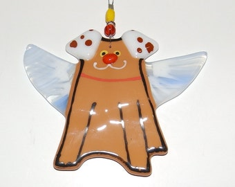 Angel Dog Ornament - Fused Glass