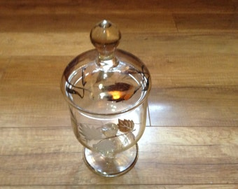 Mid Century Modern Vintage Apothecary Pedestal Jar