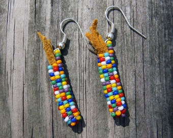 Handmade beaded corn earrings multi color