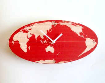 Objectify Oval World Clock - Red