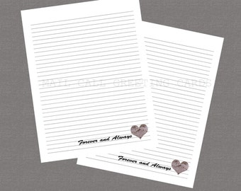 Marines - Forever and Always - Printable Stationary, Deployment, Care Package, USMC Wife, Military Stationary