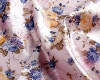 chinese folk blue pink peony tapestry satin silk brocade  fabric for dress coat diy one yard