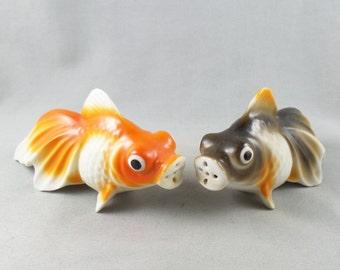 Vintage Koi Fish Ceramic Salt and Pepper Shaker Made in Japan