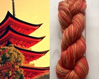 Mulberry silk 100% (2ply ,) handdyed yarn 100g.- Vamp red VS Gold