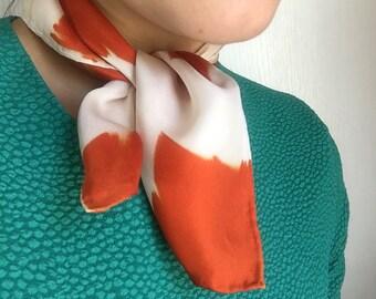 Silk Shibori Handkerchief in Calabaza Blocks