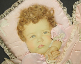 Antique Victorian Framed Baby Picture w/ Real Human Hair Ribbons Pillow Etc