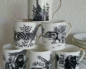 Dimitasse / Espresso cups / Cappuccino / Bone China / African wild life / Coffee / Java