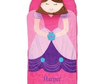 Embroidered Princess Nap Mat [back to school, nap mat, princess, pink, sleep, sleeping bag, backpack, washable, pillow, soft]  -gfyE000270