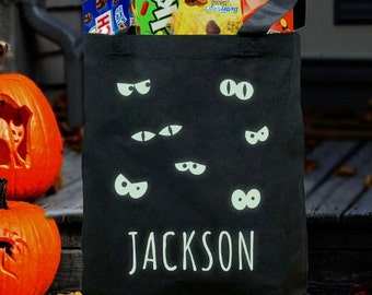Personalized Glow In The Dark Halloween Bag [Halloween, trick-or-treating, halloween candy, candy tote bag, glow in the dark] - gfy878672BK