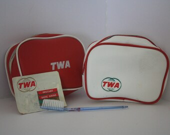 2 Vintage Trans World Airlines TWA 1960's Zippered Vinyl Promotional Toiletry Kit Pouches