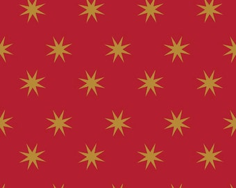 04480 - Riley Blake La Vie Boheme Metallic Stars  in red  fabric- 1 yard