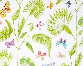 25225 -  Dena Designs Butterfly Garden Butterfuly Palm in White PWDF227 - 1 yard