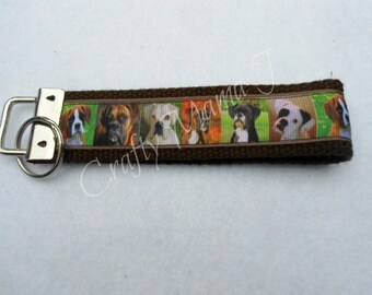 Boxer Dog Print Ribbon Key Fob Keychain Wristlet. Perfect gift for Dog Lover.