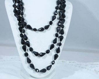 Long Black Faceted Plastic Bead Necklace