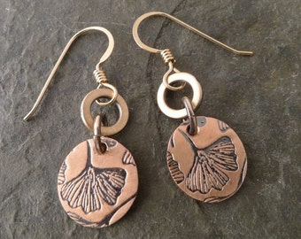 Boho Mini Copper Earrings ~ Double ~ Gingko Leaf