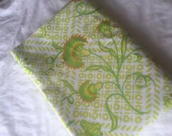 Vintage Twin Flat Bedsheet- 1970s Green, Yellow, Orange