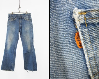 Vintage Levi's 517 Denim Jeans Distressed Orange Tab Worn and Faded Made in USA - 34 x 31