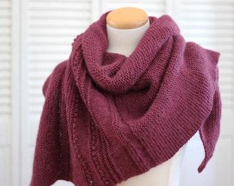 Knitting Pattern Shawl, Asymmetrical Shawl, Burgundy