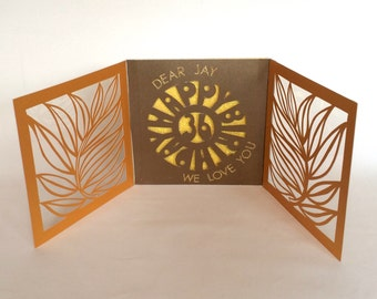 HAPPY BIRTHDAY Tri-Fold Book Card Original Design w/Paper Cuts & Transparency CUSTOM ORDeR HANDMADe in Gold Brown and Yellow One Of a Kind