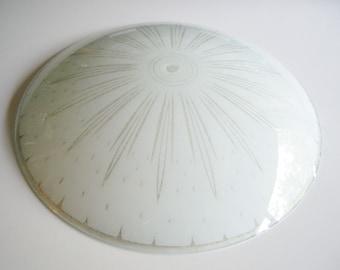 Vintage, Glass Light Shade, Mid Century, Extra Large, Saucer, Sunburst Pattern, White, Ceiling Shade, MCM, Mid Century Modern