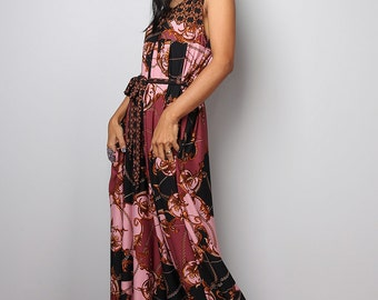 Boho Jumpsuit - Wide leg Jumper Maxi Dress with pockets : Simply Jumpsuit Collection