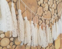 IVORY, Beige and Cream Fabric Tassle Garland - Bohemian - Backdrop Photo Prop - Bridal Shower - Baby Shower - Banner - LACE Rustic - BOHO