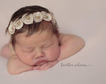 Beige and Gold Sparkle Headband - Halo Headband - Vintage Inspired - Baby Girl - Newborn Photo Prop - Adult - Mocha - Gold Dust - Tawny