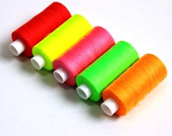 Neon fluorescent threads, sewing threads, sewing, flo threads, havberdashery, UK shop