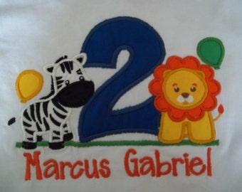 Zoo/Circus Animals Birthday Shirt - Short Sleeve Appliqued Tshirt - Infant and Toddler Size Tshirt - 6 months to 5/6